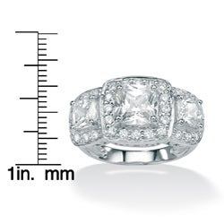 2.90 TCW Cushion-Cut and Round Cubic Zirconia Platinum over Sterling Silver 3-Stone Engage - Thumbnail 2