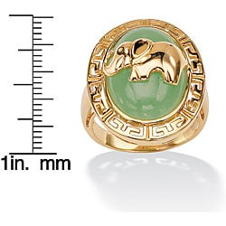 PalmBeach 18k Gold over Silver Green Jade Elephant Ring Naturalist