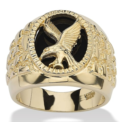 Men's Yellow Gold over Sterling Silver Natural Black Onyx Eagle Ring