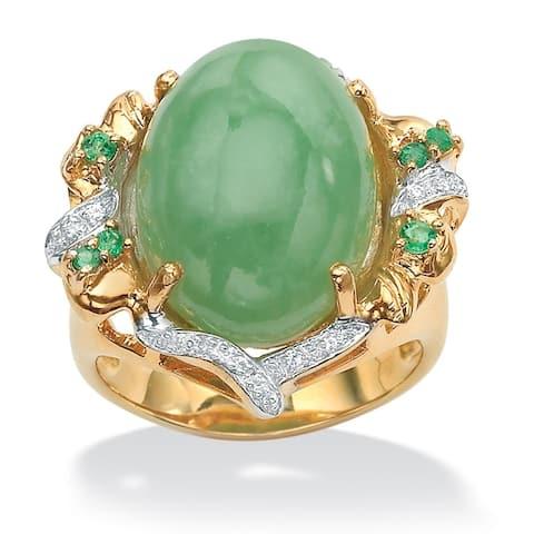 Green Jade/Emerald and Cubic Zirconia Ring