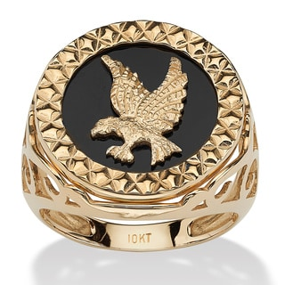 PalmBeach Men's Round Genuine Onyx 10k Yellow Gold Hammered Eagle Ring