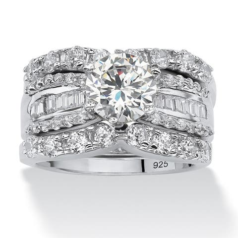 16de462a2 Platinum over Sterling Silver Cubic Zirconia Bridal Ring Set - White