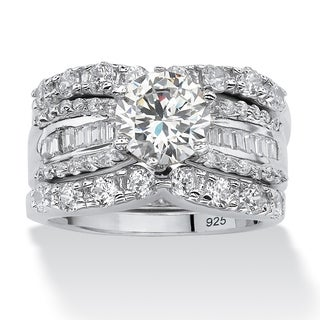 Platinum Over Silver Round Cubic Zirconia 3-piece Bridal Set
