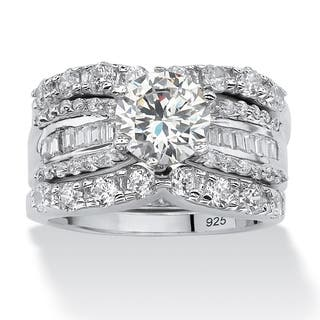 Platinum Over Silver Round Cubic Zirconia 3-piece Bridal Set|https://ak1.ostkcdn.com/images/products/5318505/P13125753.jpg?impolicy=medium