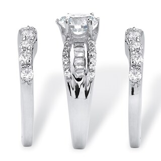 Platinum Over Silver Round Cubic Zirconia 3-piece Bridal Set (More options available)