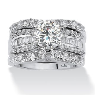 Link to Platinum over Sterling Silver Cubic Zirconia Bridal Ring Set - White Similar Items in Rings