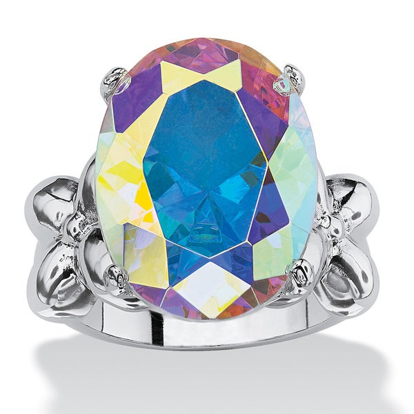 12.86 TCW Oval Cut Cubic Zirconia Silvertone Aurora Borealis Ring Color Fun