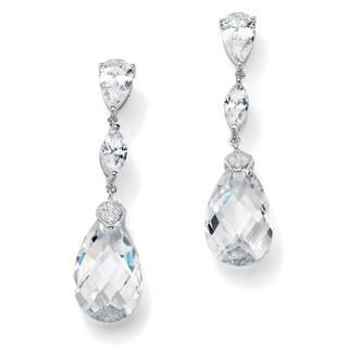 34.70 TCW Pear-Cut Cubic Zirconia Sterling Silver Drop Earrings Glam CZ