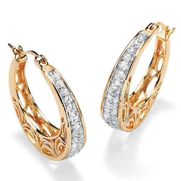 1 TCW Cubic Zirconia 18k Gold over Sterling Silver Filigree Hoop Earrings Classic CZ