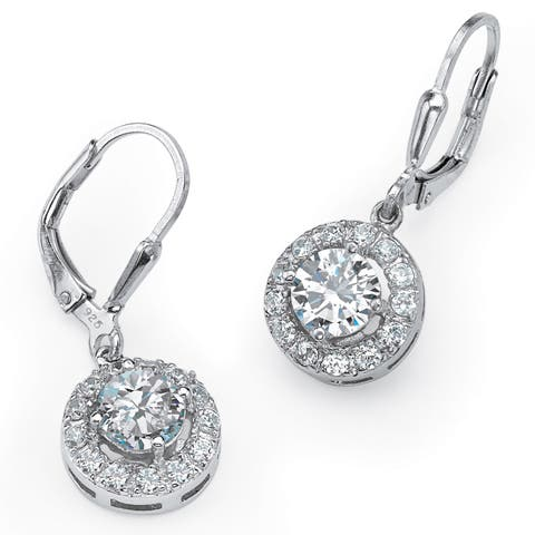 2.35 TCW Round Cubic Zirconia Halo Drop Earrings in .925 Sterling Silver Classic CZ