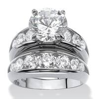 Sterling Silver Cubic Zirconia Bridal Ring Set - White