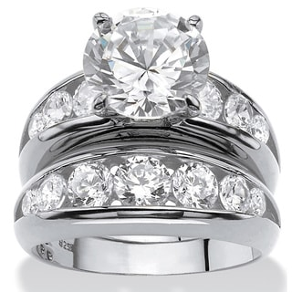2 Piece 6.09 TCW Round Cubic Zirconia Bridal Ring Set in Sterling Silver Glam CZ