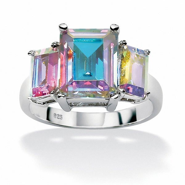 5.60 TCW Emerald-Cut Aurora Borealis Cubic Zirconia Cocktail Ring in Sterling Silver Color
