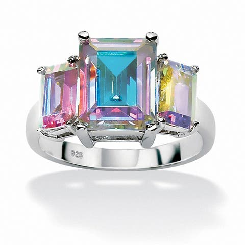 Sterling Silver and Aurora Borealis Cubic Zirconia 3-Stone Ring - Multi