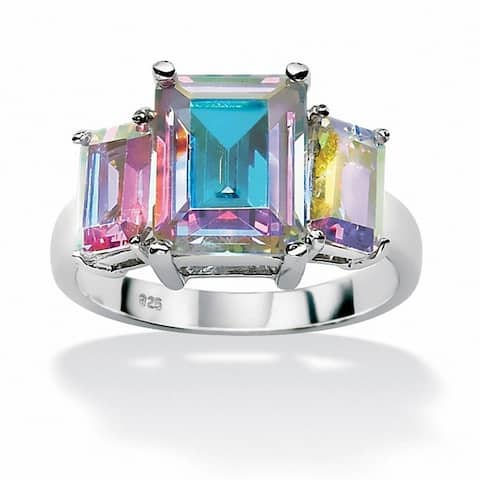 Sterling Silver and Aurora Borealis Cubic Zirconia 3-Stone Ring - Multi