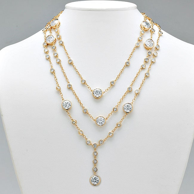 Ultimate CZ 14k Yellow Gold Overlay Cubic Zirconia Station Necklace