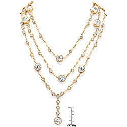 Ultimate CZ 14k Yellow Gold Overlay Cubic Zirconia Station Necklace - Thumbnail 1