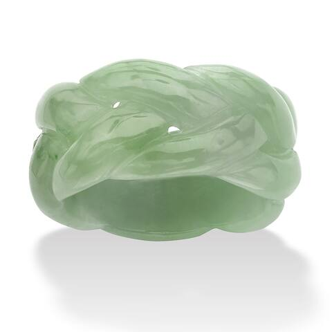Genuine Green Jade Braided Eternity Ring