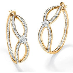 PalmBeach 4.20 TCW Round Cubic Zirconia 14k Yellow Gold-Plated Inside-Out Hoop Earrings Glam CZ