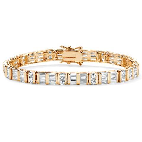 Yellow Gold-Plated Round Tennis Bracelet Cubic Zirconia (13 1/3 cttw TDW)
