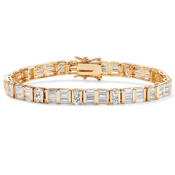 13.32 TCW Channel-Set Round and Baguette Cubic Zirconia 14k Yellow Gold-Plated Bracelet 7
