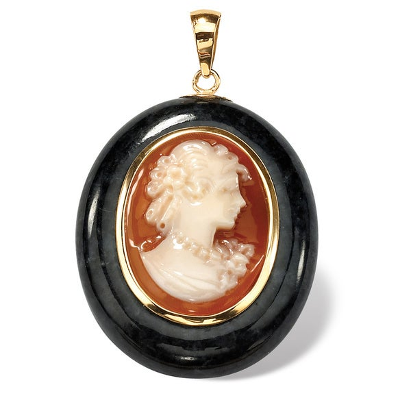 Oval-Shaped Genuine Onxy and Genuine Shell Cameo 10k Yellow Gold Drop Pendant Naturalist