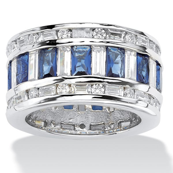 16.32 TCW Cubic Zirconia Blue Faceted Glass Accent Silvertone Eternity Band Ring Color Fun