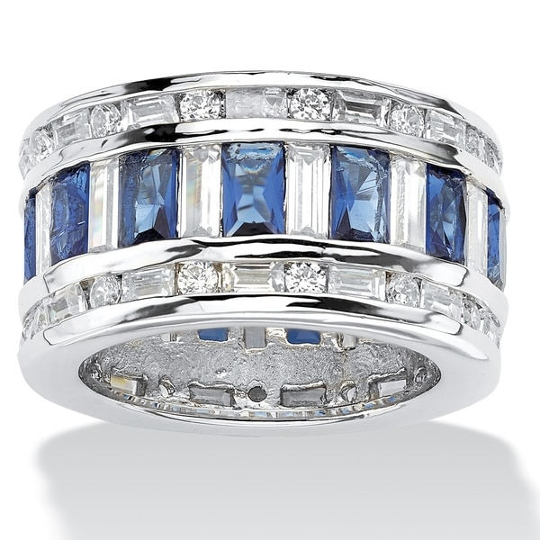 Silver Tone Cubic Zirconia Glass Ring - Multi/White