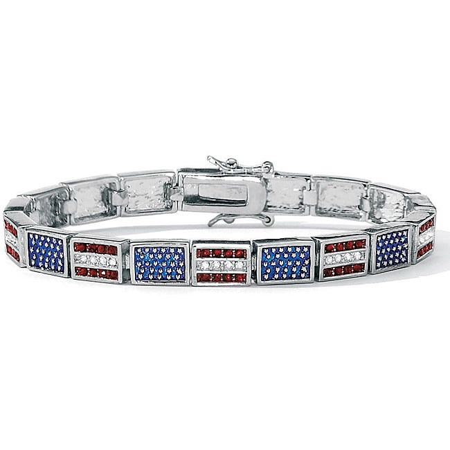 """PalmBeach Red, White and Blue Crystal and Enamel Silvertone Patriotic Flag Bracelet 7 1/4"""" Bold Fashion"""