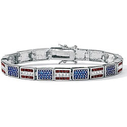 "PalmBeach Red, White and Blue Crystal and Enamel Silvertone Patriotic Flag Bracelet 7 1/4"" Bold Fashion"