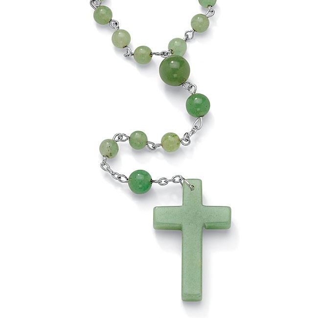 "Round Genuine Green Agate Silvertone Rosary Bead Necklace 28"" Naturalist - Thumbnail 0"