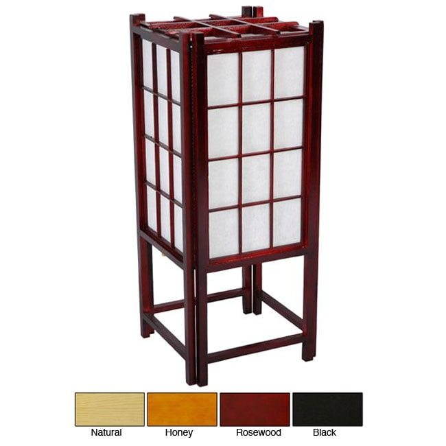 Genial Handmade Wooden 18 Inch Window Pane Shoji Lamp (China)