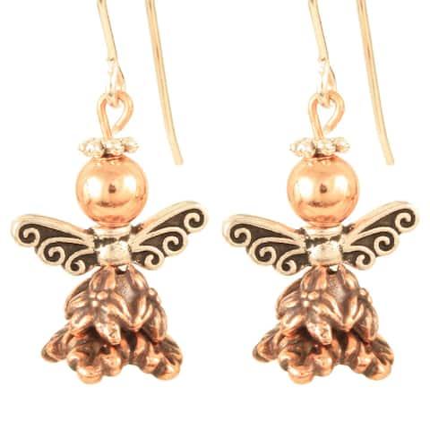 Handmade Copper Luna Cuprium Angel Earrings