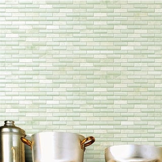 SomerTile 10.75x11.75-inch Reflections Subway Ming Glass and Stone Mosaic Wall Tile (10 tiles/8.8 sqft.)
