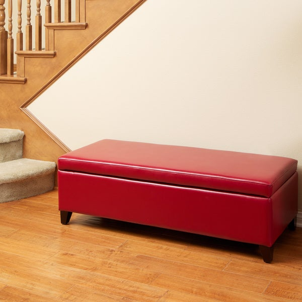 York Red Bonded Leather Storage Ottoman by Christopher Knight Home