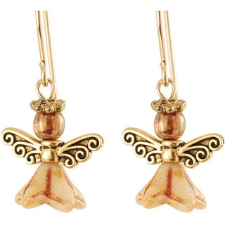 'Glorious Gold' 14k Gold Fill Glass Bead Angel Earrings