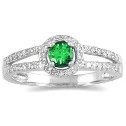 Marquee Jewels 10k White Gold Emerald and 1/4ct TDW Diamond Ring (H-I, I1-I2)