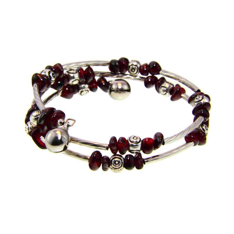 Handmade Tibetan Silver Garnet Bead Bangle Bracelet (China)