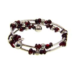Handmade Tibetan Silver Garnet Bead Bangle Bracelet (China)