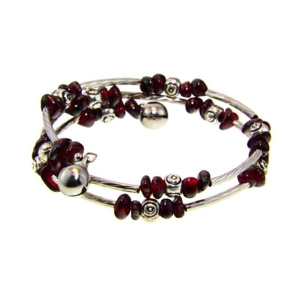 Handmade Tibetan Silver Garnet/ Amethyst Bead Bangle Bracelet (China)