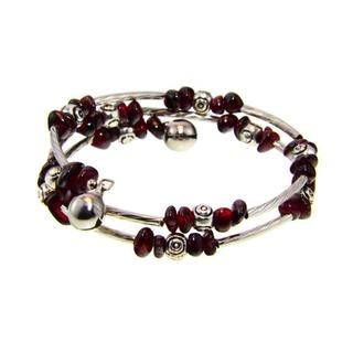 Handmade Tibetan Silver Garnet/ Amethyst Bead Bangle Bracelet (China)