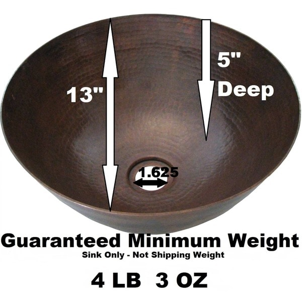 Unikwities 13 X 5 Inch Round Copper Vessel Sink In Bronze Finish   Free  Shipping Today   Overstock.com   13126053