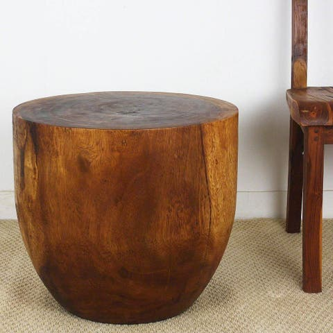 Haussmann Handmade Eco Wood Oval Drum Table 20 in D x 18 in H Walnut Oil