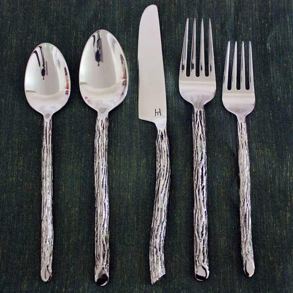 Handmade stainless steel bark 20 piece flatware set Best brand of silverware