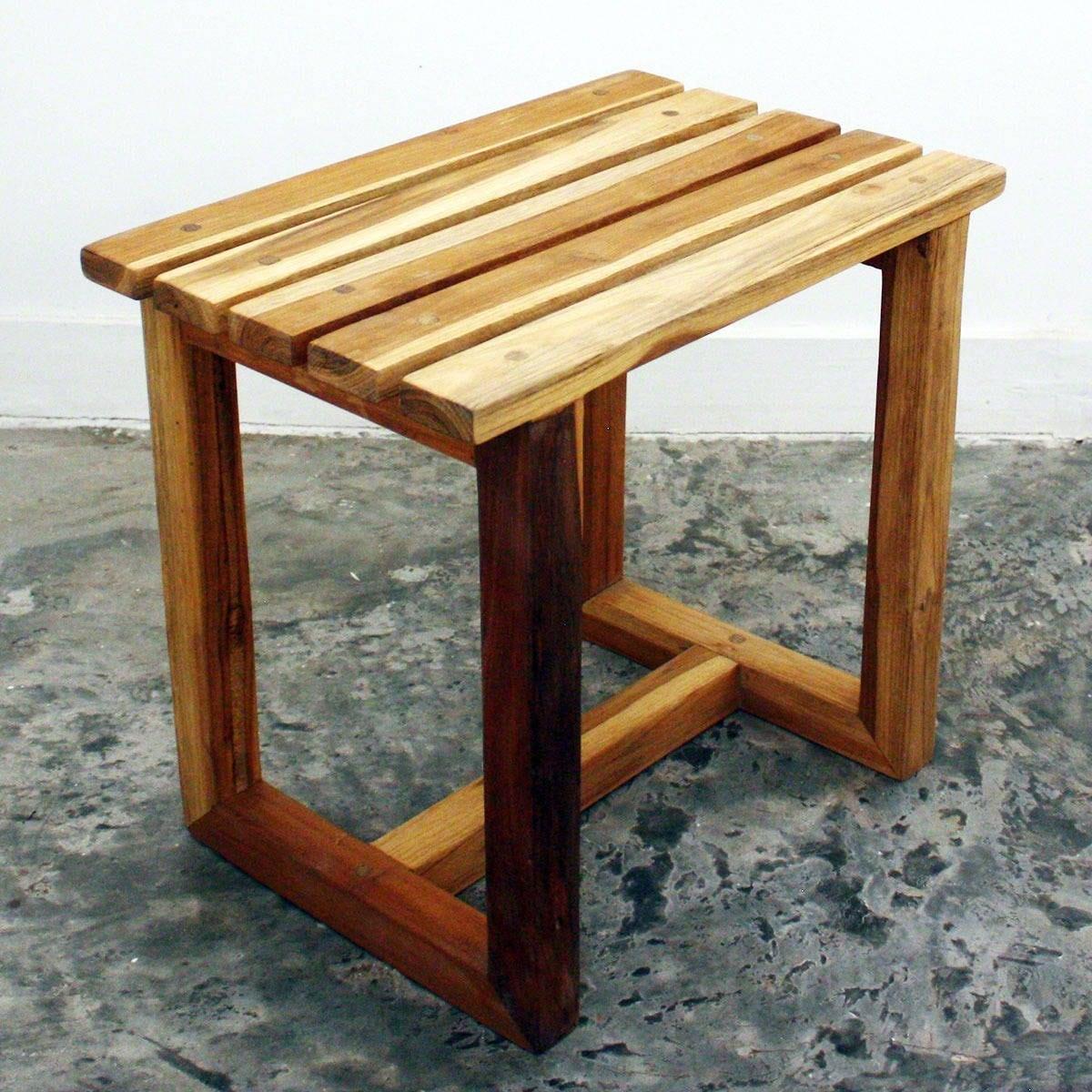 Haussmann Teak wood Handmade Teak Oil-finished Spa Stool ...