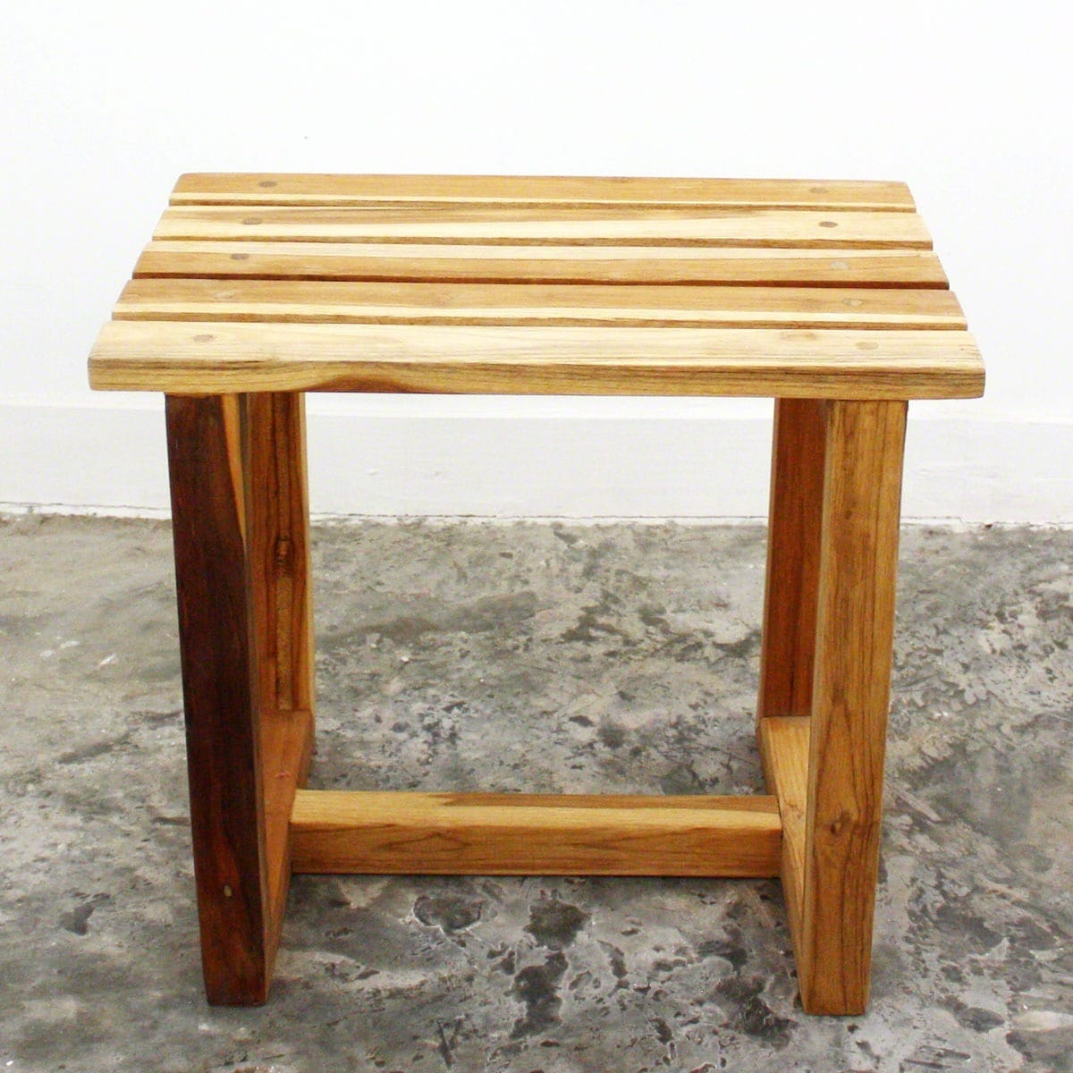 Wood Shower Bench Hand-doweled Teak Oil-finished Stool Day Spa Bath ...