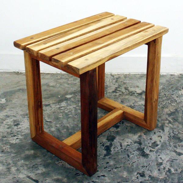 Teak wood Handmade Teak Oil-finished Spa Stool (Thailand)