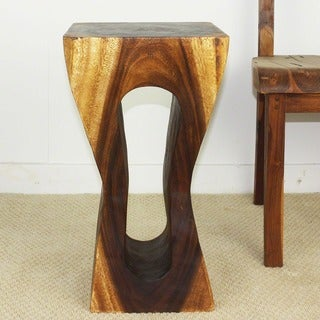 Wood Natural Walnut Oil-finished Squeezed Rectangle Stool (Thailand)