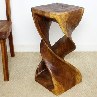 Monkey Pod Wood Walnut Oil-finished Double Twist Stool (Thailand)