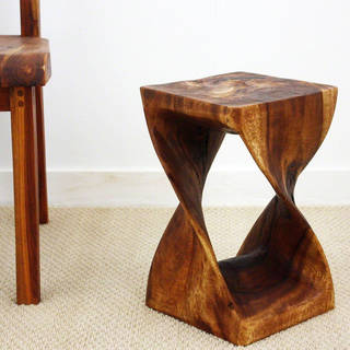 10 Inches Square x 16-inch Monkey Pod Wood Walnut Oil-finished Twist Stool (Thailand)